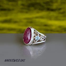 pierścionek z rubinem i akwamarynami - Pierścionki - Biżuteria
