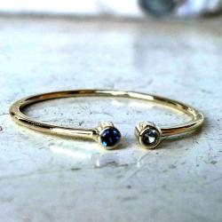 złoto,pierścionek,spinel,akwamaryna - Pierścionki - Biżuteria