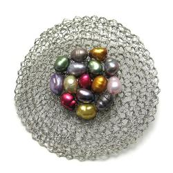 broszka,perły,pleciona,elegancka,szydełko - Broszki - Biżuteria