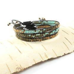 bransoletka zaplatana,boho,zestaw,koralikowa - Bransoletki - Biżuteria