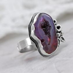 pierścionek z agatem,fioletowy agat,litori - Pierścionki - Biżuteria